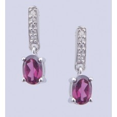 Rhodolite Stone 925 sterling silver earring cubic with zarconia, Shape- Oval-ER-0050