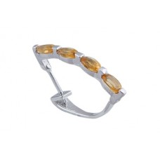 925 Sterling  Silver Earring, Citrine Stone Earring, Shape- Oval,ER-0017