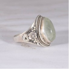 Prehnite ring, natural gemstone ring