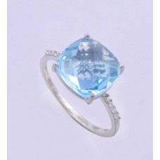 925 Sterling Silver Swiss Topaz Ring Studded With CZ, RI-0004