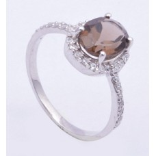 925 Sterling Silver Ring, smoky quartz stone ring, Ri-0017