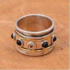 Black onyx gemstone spinner ring