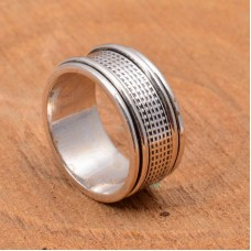 Meditation spinner ring with sterling silver spinner ring