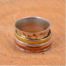 Tibetan prayer spinner ring, Copper wire spinner ring