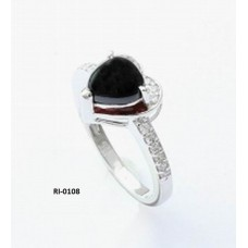 925 sterling silver ring with Black spinel Gemstone, Shape- Heart, Ri-0108