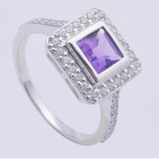 925 Sterling Silver Ring, Gemstone Amethyst, RI-0167