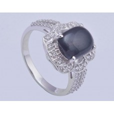 925 Sterling Silver Ring with Amethyst Gemstones, RI-0179