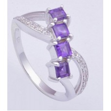925 Sterling Silver Ring with Amethyst Gemstone, Square Shape, RI-0225
