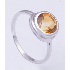 Citrine Gemstone With 925 Sterling Silver Ring, RI-0325