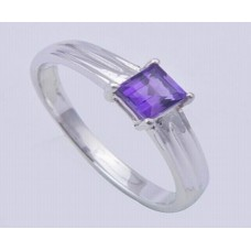 Amethyst Gemstone with 925 Sterling Silver Ring, Octagon Shape, RI-0100